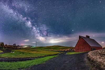 Idaho Barn Arboretum Milky Way Art Print