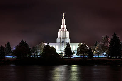 Photograph - Idaho Falls Temple Over The River At Night by David Andersen