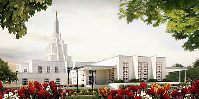 Lds Painting - Idaho Falls Temple - Summer by Brent Borup
