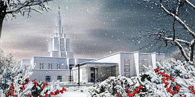 Lds Painting - Idaho Falls Temple - Winter by Brent Borup
