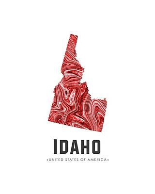 Idaho Map Art Abstract In Red Art Print