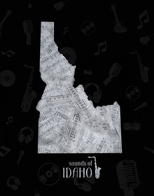 Music Royalty-Free and Rights-Managed Images - Idaho Map Music Notes 2 by Bekim Art