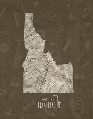 Jazz Royalty-Free and Rights-Managed Images - Idaho Map Music Notes 3 by Bekim Art