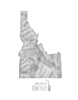 Rock And Roll Royalty-Free and Rights-Managed Images - Idaho Map Music Notes by Bekim Art