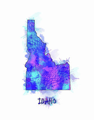 Watercolor Map Digital Art - Idaho Map Watercolor 2 by Bekim Art