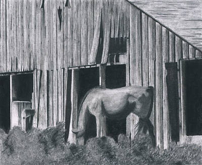 Old Barn Drawing - Idaho Peace by Bryan Baumeister