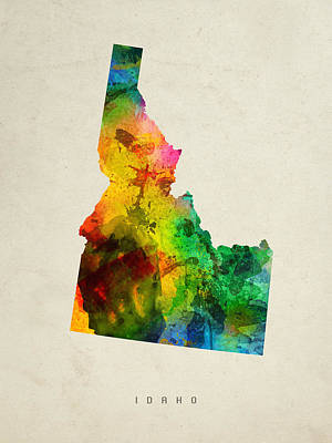 Vintage Map Painting - Idaho State Map 01 by Aged Pixel