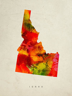 Idaho State Map 04 Art Print by Aged Pixel