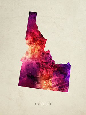 Idaho State Map 05 Art Print by Aged Pixel