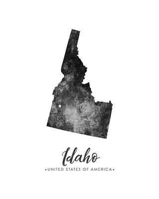 Mixed Media Royalty Free Images - Idaho State Map Art - Grunge Silhouette Royalty-Free Image by Studio Grafiikka