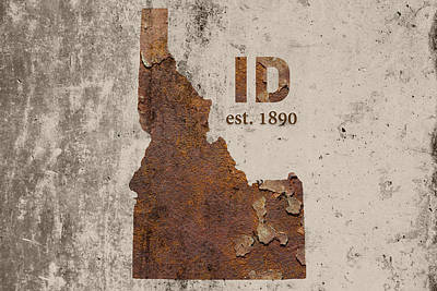 Industrial Mixed Media - Idaho State Map Industrial Rusted Metal On Cement Wall With Founding Date Series 045 by Design Turnpike