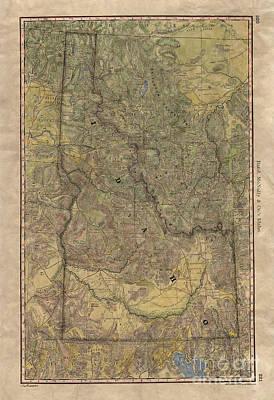 Painting - Idaho Wagon Roads Map by Lisa Middleton