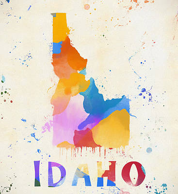 Painting - Idaho Watercolor Map by Dan Sproul