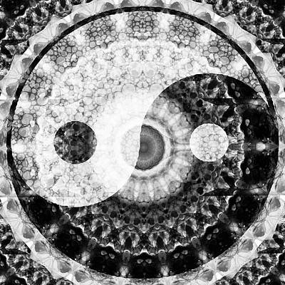 Ideal Balance Black And White Yin And Yang By Sharon Cummings Art Print by Sharon Cummings