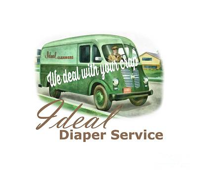 Diaper Drawing - Ideal Diaper Service Tee by Edward Fielding