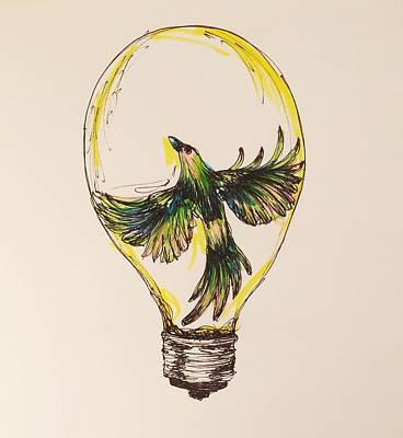 Lightbulb Drawing - Ideas Take Flight by Morgan Gunther