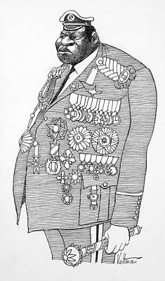 Drawing - Idi Amin Caricature by Edmund Valtman