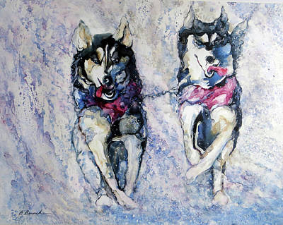 Wall Art - Painting - Iditarod Leaders by Beverly Berwick