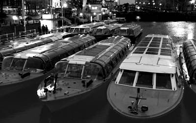 Classic Golf - Idle Tour Boats -- Amsterdam in Winter BW by Mark Sellers