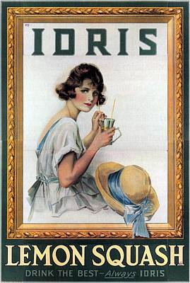 Mixed Media - Idris - Lemon Squash - Girl Drinking Lemon Squash - Vintage Advertising Poster by Studio Grafiikka