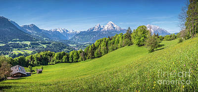Photograph - Idyllic Alpine Landscape With Green Meadows, Farmhouses And Snow by JR Photography