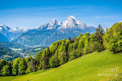 Spring Photograph - Idyllic Alpine Landscape With Green Meadows, Farmhouses And Snowy Mountain Tops by JR Photography