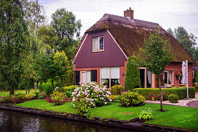 Photograph - Idyllic Cottage At The Canal In Giethoorn by Jenny Rainbow