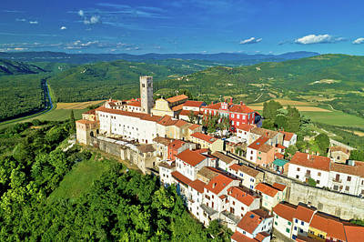 Photograph - Idyllic Hill Town Of Motovun Aerial View by Brch Photography