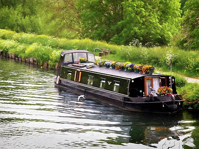 Photograph - Idyllic Summer - Narrow Boat On The River by Gill Billington