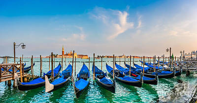 Photograph - Idyllic Sunset Scene With Gondolas In Venice by JR Photography