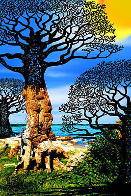 Sicily Painting - If A Tree Falls In Sicily Black by Tony Rubino