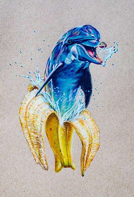Childlike Drawing - If Dolphins Came From Banana Peels by Brian Owens