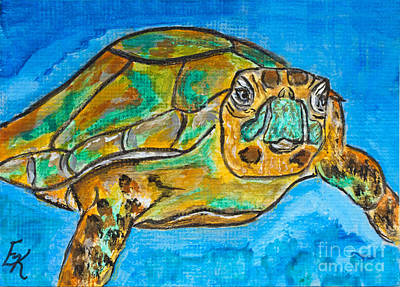 Painting - If I Were A Sea Turtle by Ella Kaye Dickey