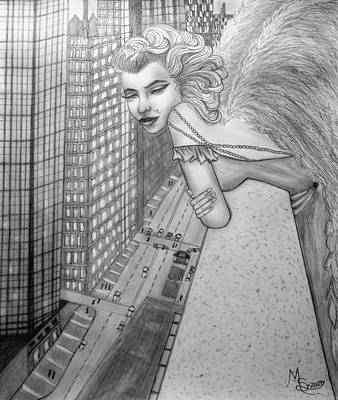 Drawing - If Marilyn Were An Angel by Absinthe Art By Michelle LeAnn Scott