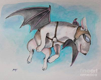 English Bull Terrier Painting - If Pigs Could Fly by Jindra Noewi