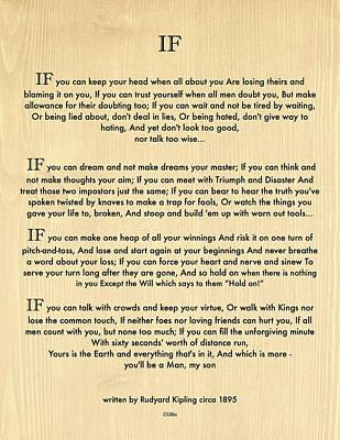 Baptism Digital Art - If Quote By Rudyard Kipling On Wood Panel by Desiderata Gallery