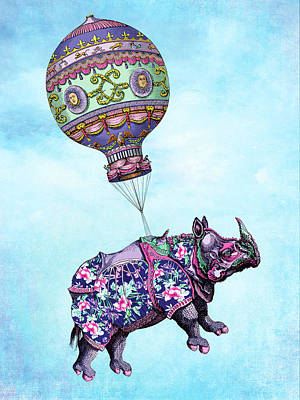 Digital Art - If Rhinos Could Fly by Tammy Wetzel