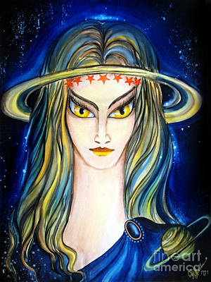 Pentagram Painting - If Saturn Planet Was A Lady by Sofia Metal Queen
