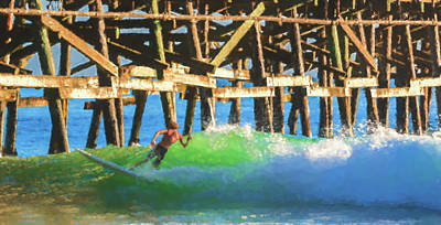 Clemente Digital Art - If The Dude Surfed 2 Surfing Watercolor by Scott Campbell