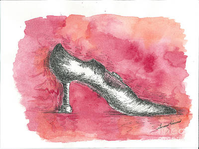 Watercolor With Pen Mixed Media - If The Shoe Fits by Susan Harris