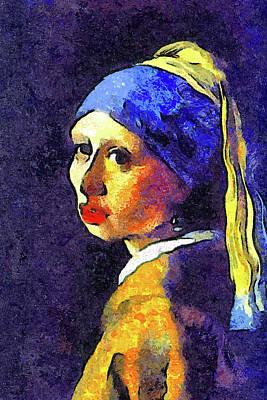 Earrings Mixed Media - If Van Gogh Had Painted Vermeer by Georgiana Romanovna