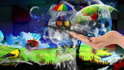 Umbrella Mixed Media - If You Want More Love Just Say So by Marvin Blaine