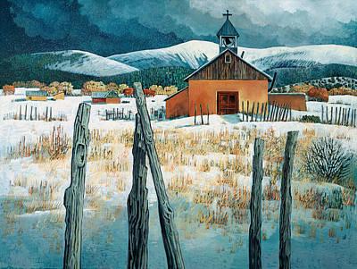 Snow Scene Landscape Painting - Iglesia Del Llano by Donna Clair