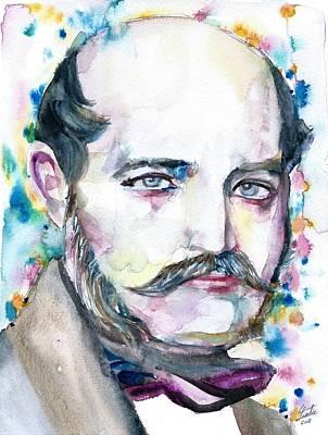Painting - Ignaz Semmelweis - Watercolor Portrait by Fabrizio Cassetta