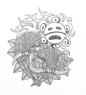 Taino Drawing - Iguaca And Taino Sun by Jose Guerrido jr