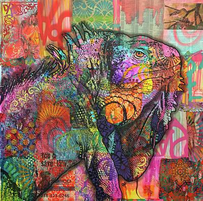 Iguana Wall Art - Painting - Iguana by Dean Russo Art
