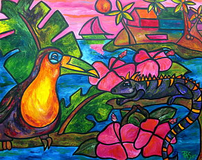 Toucan Painting - Iguana Eco Tour by Patti Schermerhorn