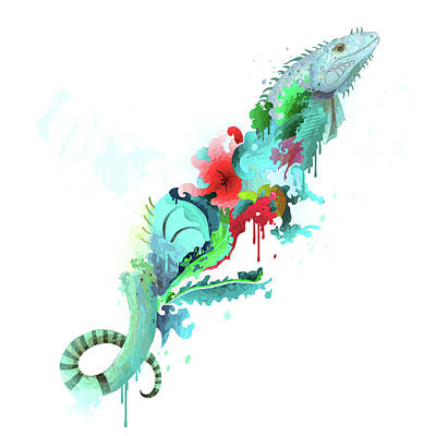 Iguana Print by Leon Bonaventura and Filiberto Bonaventura