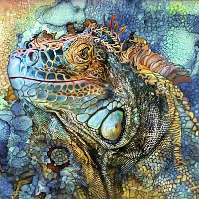 Mixed Media - Iguana - Spirit Of Contentment by Carol Cavalaris