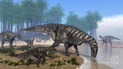Prehistoric Digital Art - Iguanodon Dinosaurs Herd by Elena Duvernay